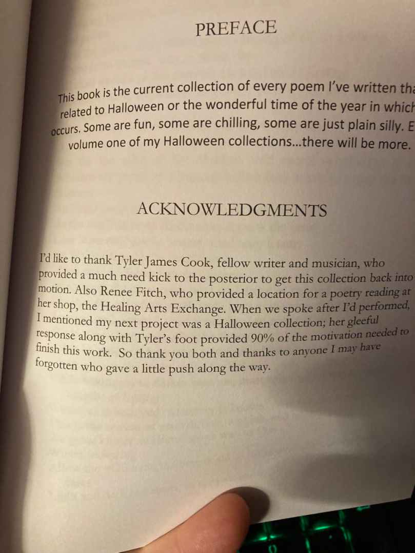 Jeremy Miles Halloween Book Acknowledgments